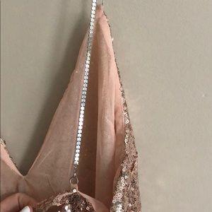d6cbedb01e PrettyLittleThing Dresses - Rose Gold Chain Strap Sequin Plunge Bodycon  Dress